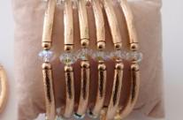 צמידים גולדפילד 14 קראט בצורת חישוק עם קריסטל סברובסקי